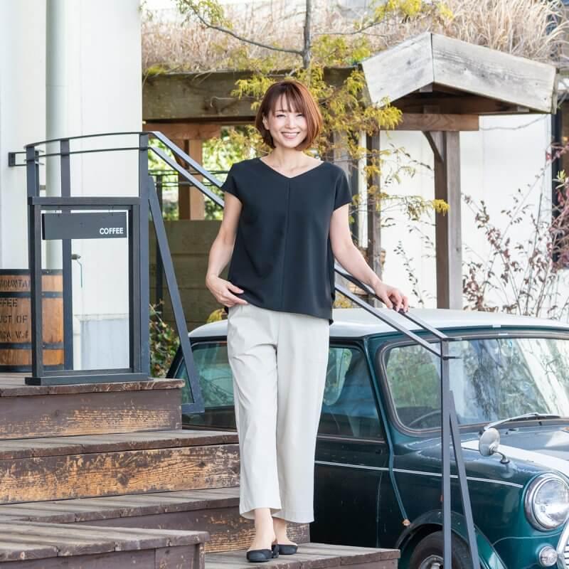 綿麻混ドライスーパーストレッチカーゴワイドパンツ【2494】